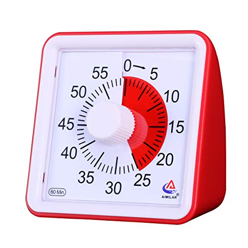 AIMILAR 60 Minute Visual Timer - Silent Timer Time Management Tool for Classroom or Meeting Countdown Clock for Kids and Adults (Red) ()