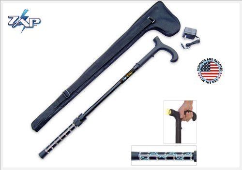 Zap Self Defense Cane with Flashlight with Carrying Case! They'll Think It Is Just a Cane Until It Is Too Late - Cane Protection