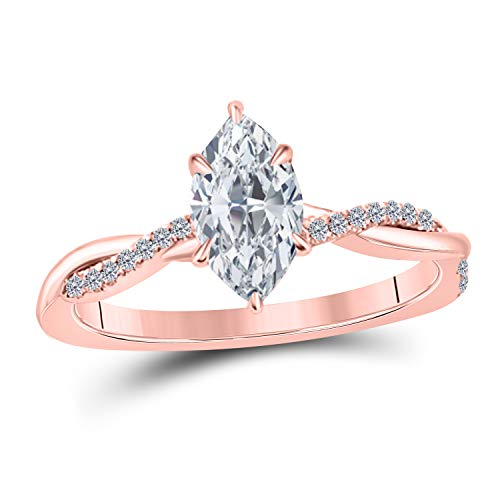 Jewelryhub 1.20 Ct Marquise Shape White CZ Diamond 14K Rose Gold Finish Sterling Silver Swirl Style Engagement Ring for Women's Birthday Gift
