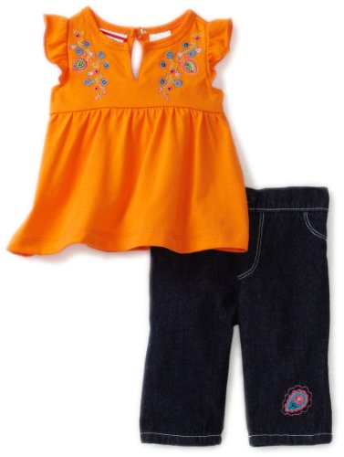 Babytogs Baby-girls Newborn Orange Jersey Knit Babydoll Top With Embroidery Denim Jean