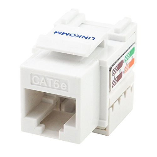 LINKOMM (25 Pack) RJ45 Cat5e Keystone Jack with Punch Down Termination Palm Holder, White