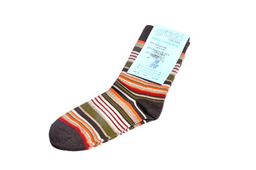 Grödo (Groedo) Organic Wool Cotton Children Kids Socks (3-pack) Made in Germany (3-4 Years, Chocolate striped)
