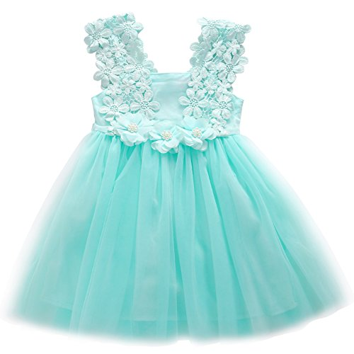 Elegant Feast Baby Girls Princess Lace Flower Tulle Tutu Gown Formal