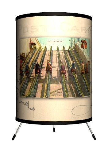 Lamp-In-A-Box TRI-TRV-Coney Travel Coney Island Postcard Tripod Lamp, 8