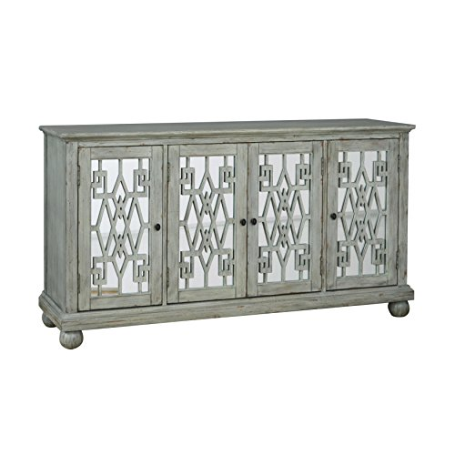 Pulaski Aged Whitewash Mirrored Console (Buffets Mirrored Sideboards)