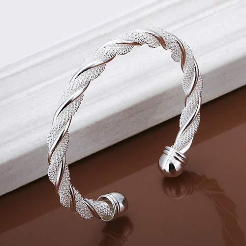Yaoyodd19 Women's Fashion Simple Silver Plated Twist Cuff Bangle Open Bracelet Jewelry Gift