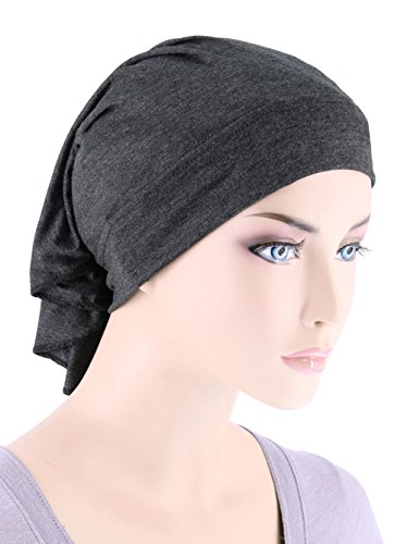Womens Ruffle Chemo Hat Beanie Scarf, Turban Head Wrap for Cancer Charcoal Gray (Ruffle Cap)