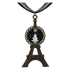 Chicforest Bronze Retro Style christmas tree Eiffel Pendant