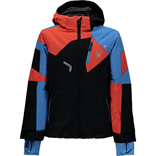 Spyder Kids  Boy's Leader Jacket (Big Kids) Black/Fresh Blue/Burst 18 Spyder Boys Jacket