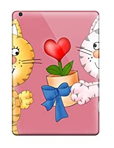 nazi diy For Abikjack Ipad Protective Case, High Quality For Ipad Air Very Cute Animated Kitty Proposing Offering Flowers Skin Case Cover