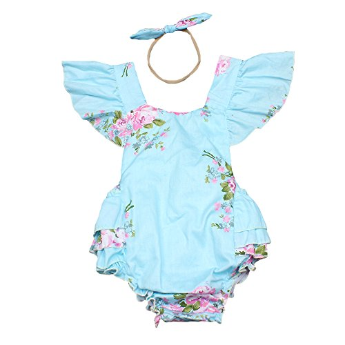 Luckikikids Baby Girls Cotton Vintage Floral Ruffle Rompers Clothing Headband Set