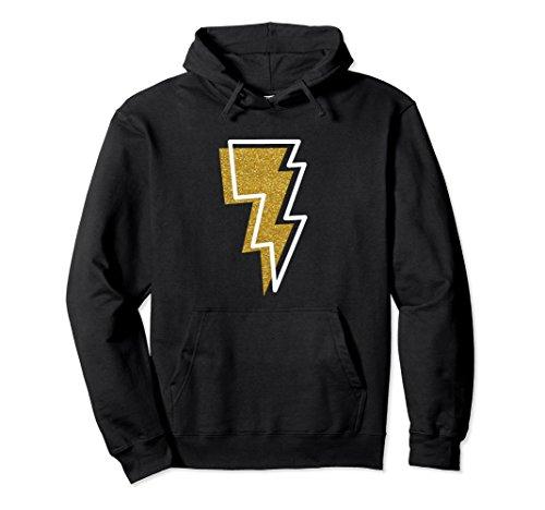 (Unisex Lightning Bolt Thunder Hoodie - Faux Gold Glitter & White 2XL Black)