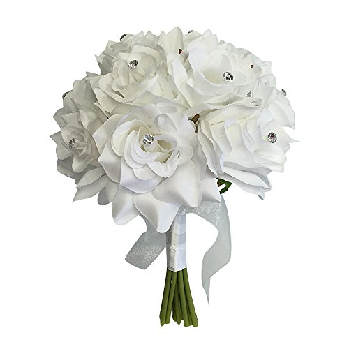"Angel Isabella 8"" Wedding Bridal Rose Bouquet(XLBQ002-WT) - One Dozen Roses with Rhinestone - Artificial Flower Bridesmaid Toss (White)"
