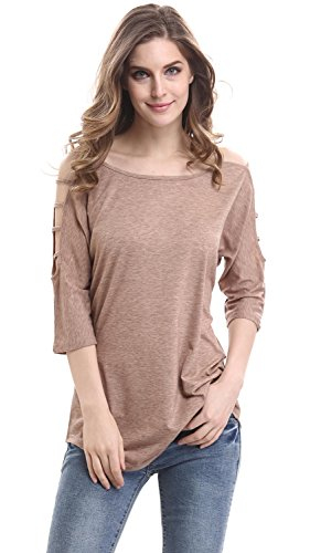 Mooncolour Womens Hollow Out Casual Loose Solid Blouse Tops, Khaki, US Medium