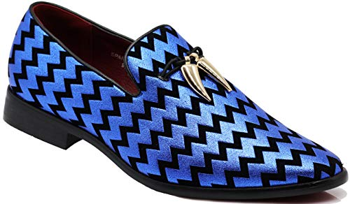 SPK22 Men's Vintage Tassel Dress Loafers Slip On Fashion Shoes Classic Tuxedo Dress Shoes (11 D(M) US, Royal Blue)