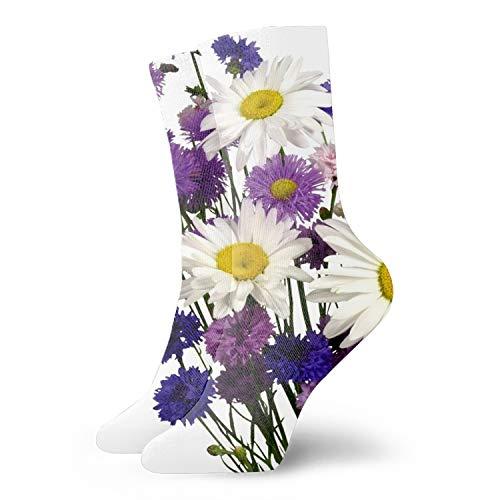 1 Pairs Cute Socks for Men & Women - Daisies Cornflowers Carnations Bouquet White