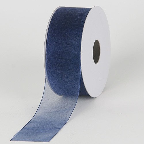BBCrafts 2-1/2 inch x 25 Yards Sheer Organza Ribbon Decoration Wedding Party (Navy Blue)