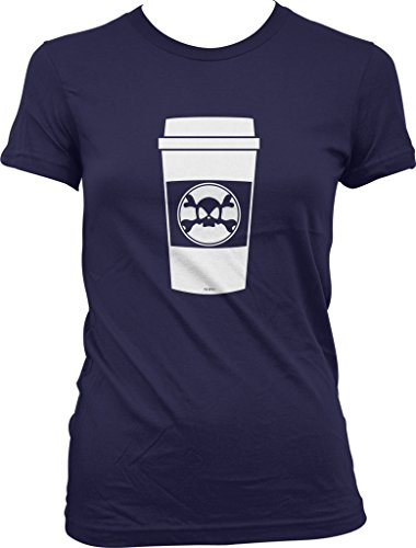 Hardcore Coffee Cup, Skull and Crossbones To Go Cup Juniors T-shirt, NOFO Clothing Co. M Navy