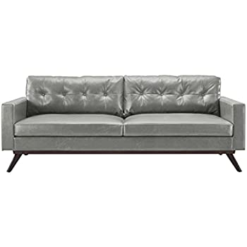 TOV Furniture The Blake Collection Contemporary Living Room Antique Eco-Leather Upholstered Living Room Sofa, Grey