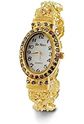 Ladies Gold Tone Black CZ Victorian Style Bangle Watch
