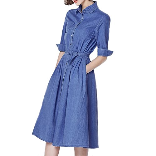 Women's Half-Sleeve Denim Long Skirtdress with Lapel Belt and Athena's Style Tunic