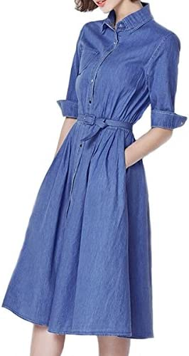 e62a52ae197 NONOSIZE Women s Turn-Down Collar Casual Shirt Midi Denim Swing Dress With  Belt and Pockets