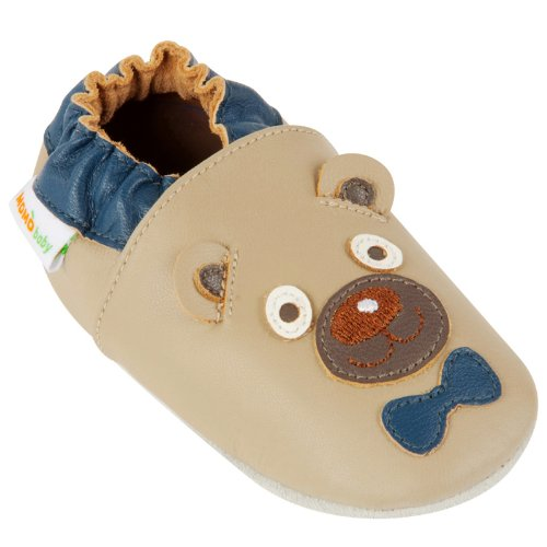 Momo Baby Infant/Toddler Mr. Bear Taupe Soft Sole Leather Shoes - 6-12 Months/3-4 M US Toddler