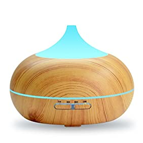 500ml Aroma Essential Oil Diffuser with 2 Water Tanks, DAVIKERY Ultrasonic Cool Mist Humidifier - 7 Color Light Changing for Yoga Spa Home Office Room - Wood Grain