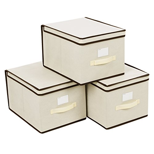 Organizing Linen Closet - SONGMICS Large Storage Bins Cube Box with lids and Dual Non-woven Handles for Home Closet Bedroom Drawers Organizers Set of 3, Beige URLB40M