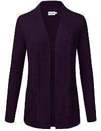 Women's Open Front Knit Long Sleeve Pockets Sweater Cardigan