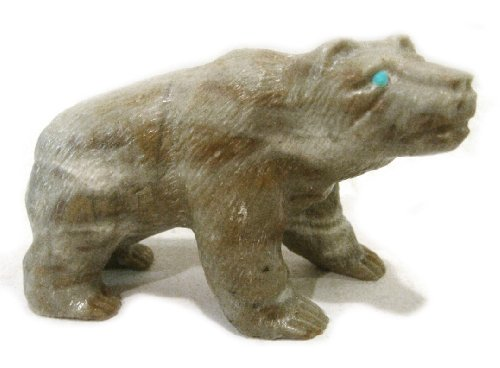 Fetish Picasso Marble - Zuni Fetish Bear by HERBERT HIM Picasso Marble Collectible Carving