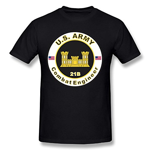 HJMDL Us Army Mos 12b Combat Engineer New Mens Fashion Round Collar Short Sleeve T-shirt (T-shirt Engineer Short Sleeve)