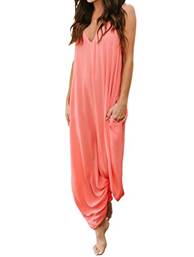 Imysty Womens Summer Maxi Dresses Spaghetti Strap Loose V Neck Sleeveless Long Dress with Pockets
