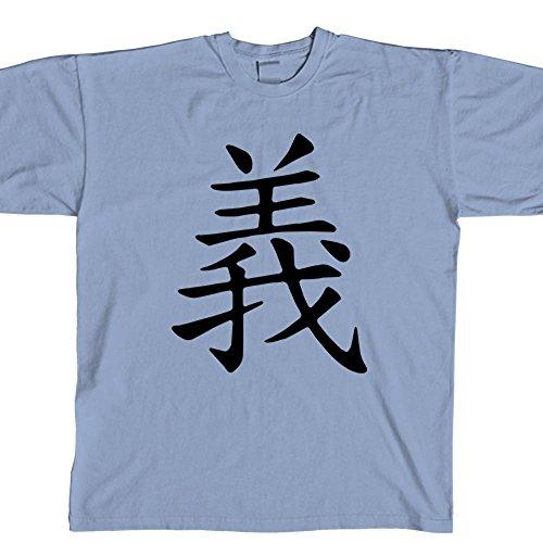 STICKERSLUG Light Blue Justice Kanji Unisex Crewneck cotton graphic t-shirt, size x-large - Kanji Light T-shirt