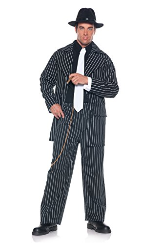 Underwraps Men's Plus-Size Pinstripe Zoot Suit, Black/White, XX-Large