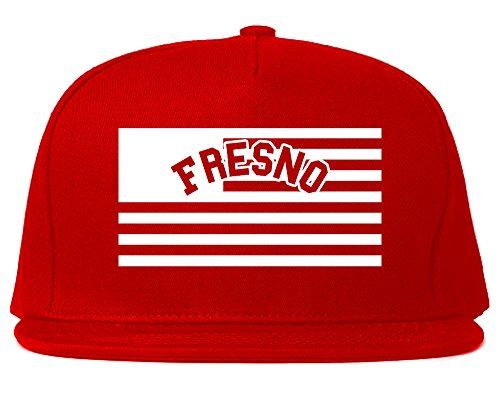 City Of Fresno with United States Flag Snapback Hat Cap Red