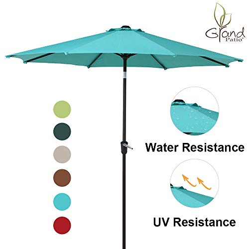 Grand Patio 9 FT Enhanced Aluminum Patio Umbrella, UV Protected Outdoor Umbrella with Auto Crank and Push Button Tilt,