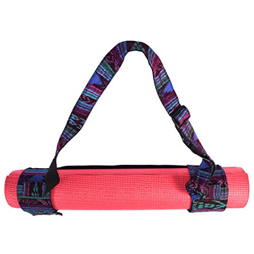 Santa Playa Yoga Mat Adjustable Carry Strap Handcrafted with Back Strap Loomed Native Tribal Textiles And Durable Cotton by (Tropical Blue)