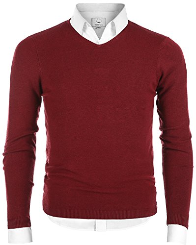 - MOCOTONO Men's V-Neck Long Sleeve Pullover Casual Sweater Wine Red Medium