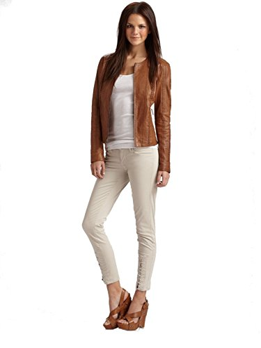 (Vince Whipped Skinny Lace-up Ankle Jeans in Putty Beige - Size)