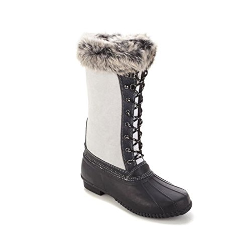 Sporto Waterproof Suede Leather Faux Fur Duck Boot Winter White 10M New - Boots Fur Sporto