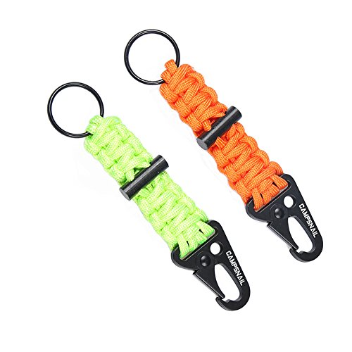 Green Day Trap - CAMPSNAIL EDC Paracord Lanyard Keychains - 2 Pack of Survival Kit with Carabiner and Flint Great Gift For Girls and Boys Scouts,Outdoor Fans and Father Day (Green&Orange)