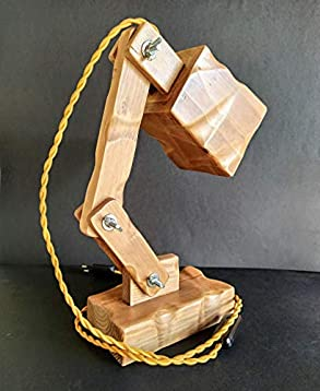 Lámpara flexo led para escritorio de madera reciclada de palet ...