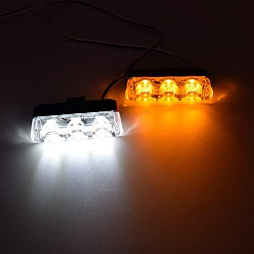 Hitsan - Estroboscopio para Coche, 12 V, 6 W, LED, Color Amarillo y Blanco