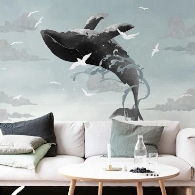 XLi-You 3D stereo Nordic whale abstract art paintings children's room background wall paper