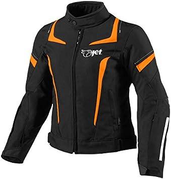 JET Motorcycle Motorbike Jacket Women Ladies Summer Winter Armoured Textile Waterproof ELEKTRA , Orange 12//14 L