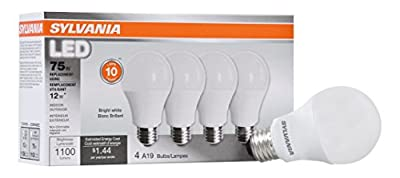 Sylvania Home Lighting 78099 A19 Sylvania, 75W Equivalent, LED Light Bulb Lamp, 4 Pack, Efficient 12W 3500K, Bright White, 4 Piece