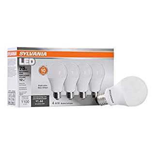 SYLVANIA General Lighting 78099 Sylvania Non-Dimmable Led Light Bulb, 12 W, 120 V, 1100 Lumens, 3500 K, CRI 80, 2.375 in Dia X 4.29 in L, 4-Pack, Bright White