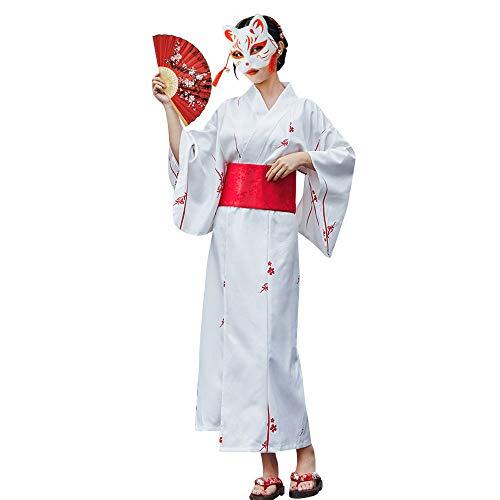 HONGH 여성의 TRADTIONAL 일본어 유카타 기모노 꽃 인쇄 긴 기모노 가운 의상 여름 착용
