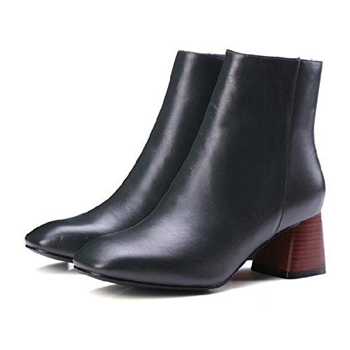 Square NSXZ GREEN Fashion Leather Short Head Women's Style Boots Genuine 34 Simple rYqrPT
